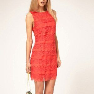 Asos Tiered Coral Lace Shift Dress